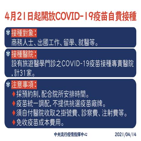 4月21日起,開放民眾預約COVID-19疫苗自費接種