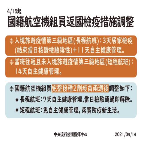 4月15日起,調整國籍航空公司抵臺航班之機組員檢疫防疫措施