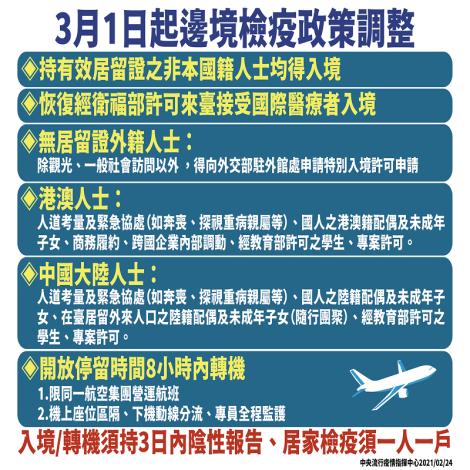 3月1日起,恢復非本國籍人士入境條件及桃園機場轉機作業