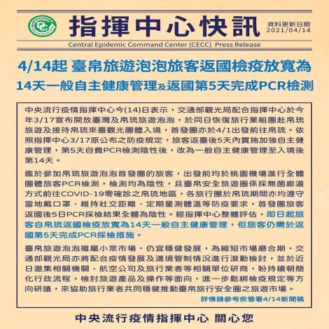 自4月14日起,臺帛旅遊泡泡旅客返國檢疫放寬為14天一般自主健康管理及返國第5天完成PCR檢測