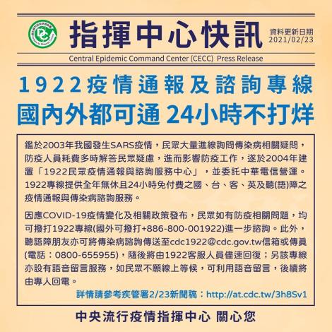 國內外攏ㄟ通!1922疫情通報及諮詢專線,24小時不打烊
