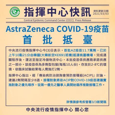 首批AstraZeneca COVID-19疫苗抵臺