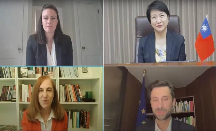 圖說:(左至右上至下)美國駐聯合國資深政策顧問Jennifer Hendrixson White、外交部徐主任秘書儷文、GMF亞太計畫主任葛來儀、歐盟駐台代表高哲夫。