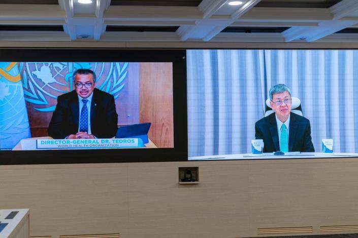圖說四:世界衛生組織(WHO)幹事長譚德塞(Tedros Adhanom Ghebreyesus)(左)出席「全球武漢肺炎高峰會」並致詞