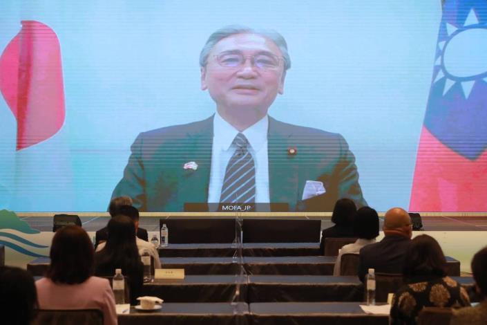 圖說三:日本眾議員古屋圭司在開幕式視訊致詞。