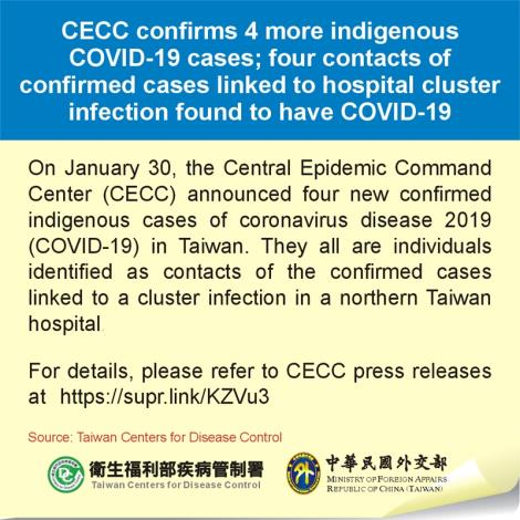 CECC confirms 4 more indigenous COVID-19 cases; four contacts of confirmed cases linked to hospital cluster infection found to have COVID-19
