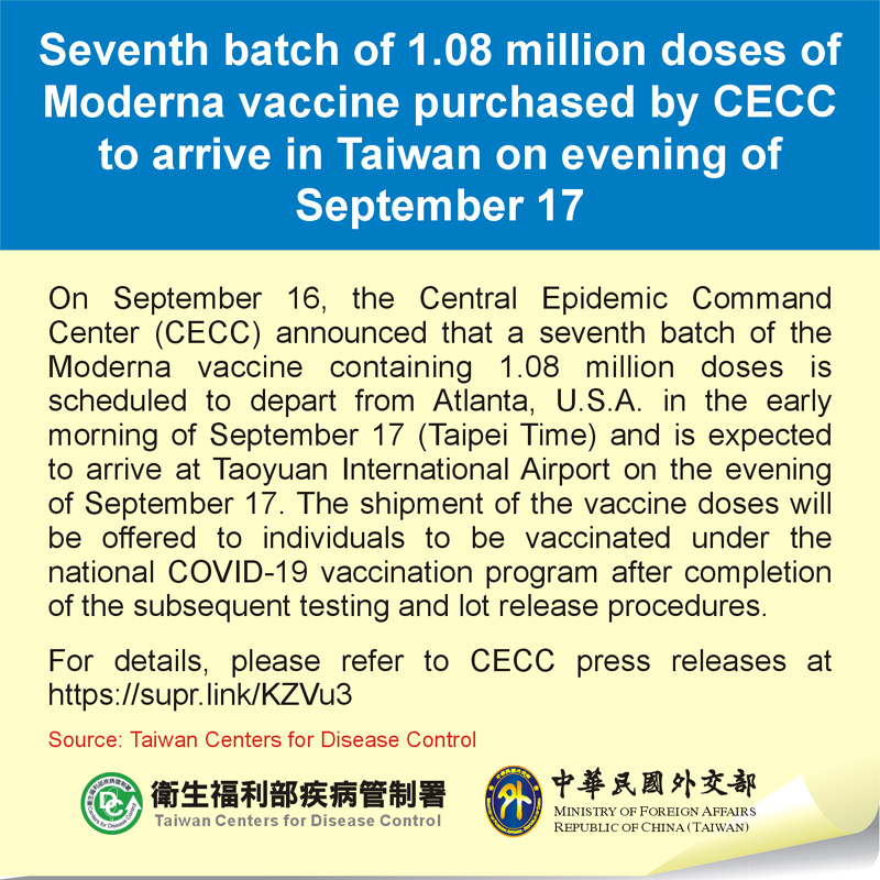 Seventh batch of 1.08 million doses of Moderna vaccine purchased by CECC to arrive in Taiwan on evening of September 17
