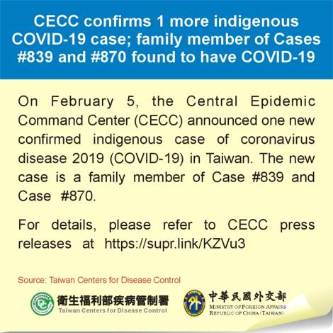 CECC confirms 1 more indigenous COVID-19 case; family member of Cases #839 and #870 found to have COVID-19