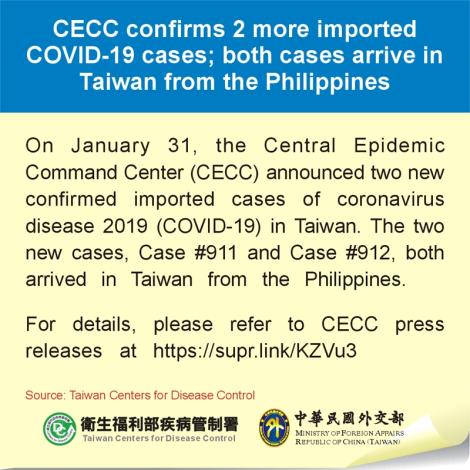 CECC confirms 2 more imported COVID-19 cases; both cases arrive in Taiwan from the Philippines