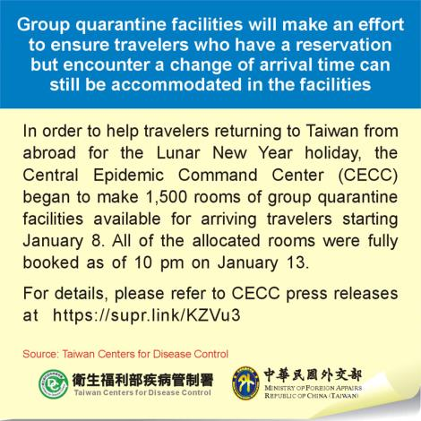 Group quarantine facilities will make an effort to ensure travelers who have a reservation but encounter a change of arrival time can still be accommodated in the facilities