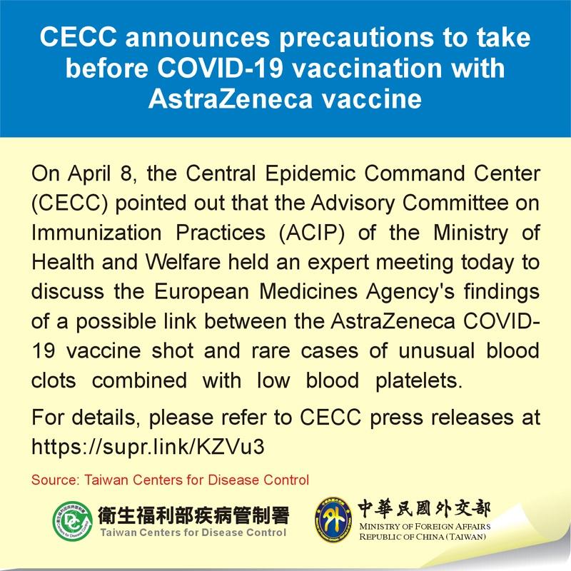 CECC announces precautions to take before COVID-19 vaccination with AstraZeneca vaccine