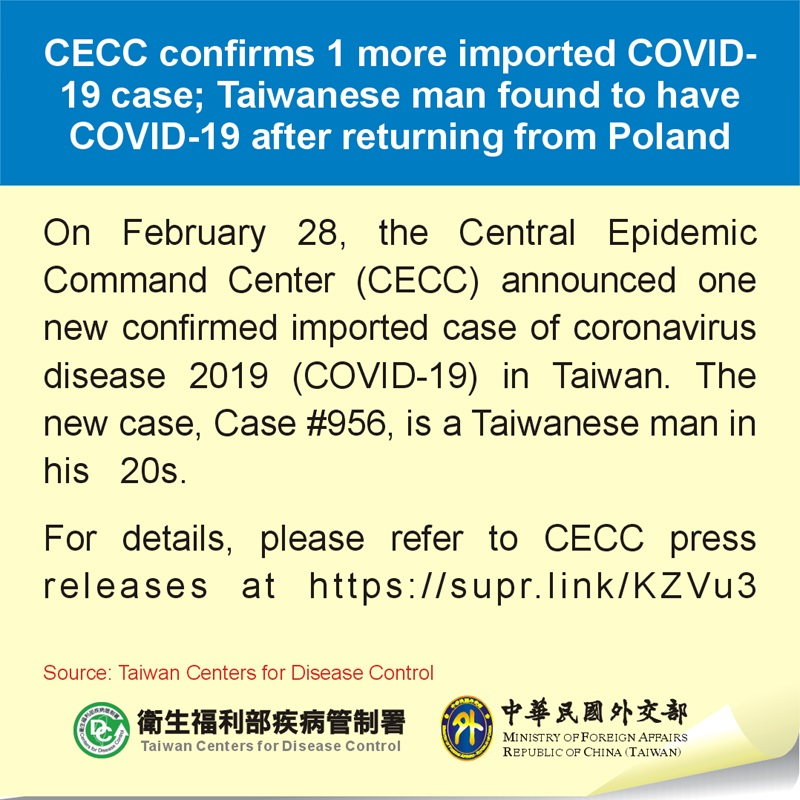 CECC confirms 1 more imported COVID-19 case; Taiwanese man found to have COVID-19 after returning from Poland