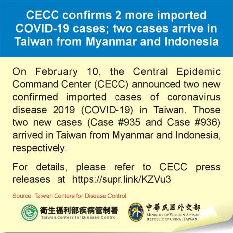 CECC confirms 2 more imported COVID-19 cases; two cases arrive in Taiwan from Myanmar and Indonesia