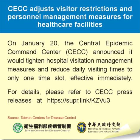 CECC adjusts visitor restrictions and personnel management measures for healthcare facilities