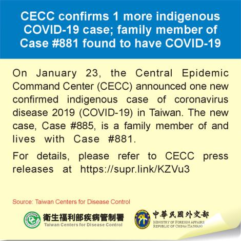 CECC confirms 1 more indigenous COVID-19 case; family member of Case #881 found to have COVID-19