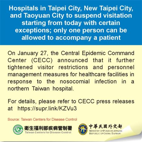 Hospitals in Taipei City, New Taipei City, and Taoyuan City to suspend visitation starting from today with certain exceptions; only one person can be allowed to accompany a patient
