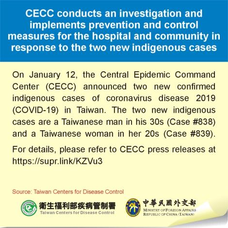 CECC conducts an investigation and implements prevention and control measures for the hospital and community in response to the two new indigenous cases