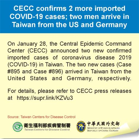 CECC confirms 2 more imported COVID-19 cases; two men arrive in Taiwan from the US and Germany