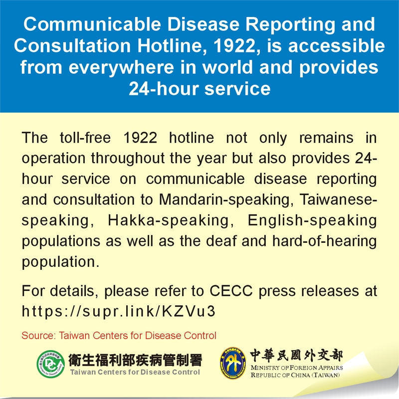 Communicable Disease Reporting and Consultation Hotline, 1922, is accessible from everywhere in world and provides 24-hour service