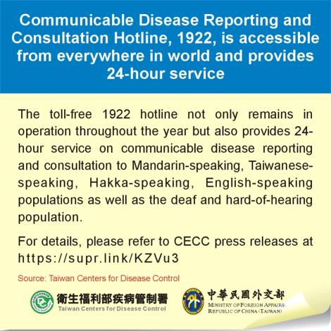 Communicable Disease Reporting and Consultation Hotline, 1922, is accessible from everywhere in world