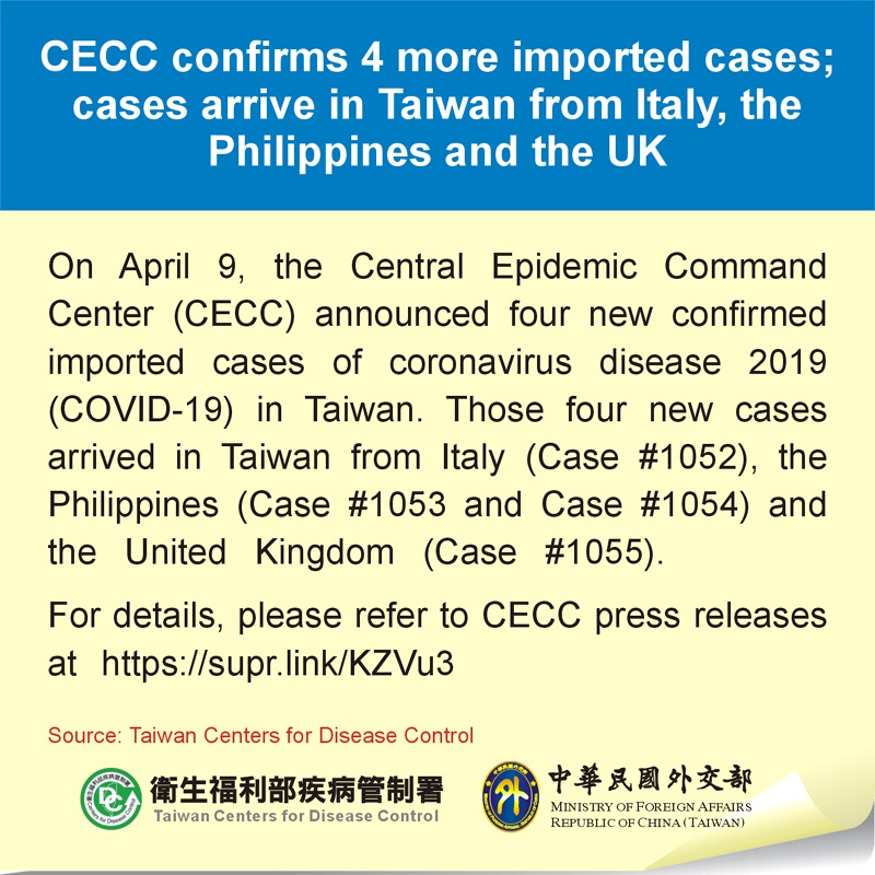 CECC confirms 4 more imported cases; cases arrive in Taiwan from Italy, the Philippines and the UK