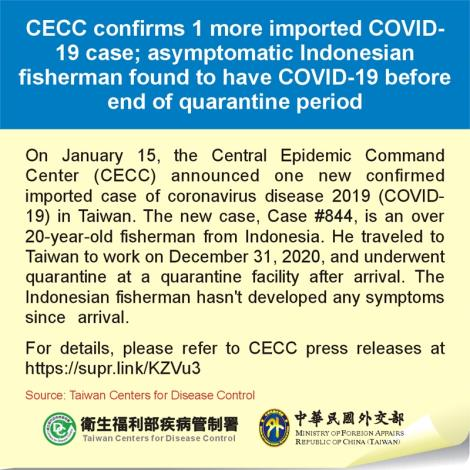 CECC confirms 1 more imported COVID-19 case; asymptomatic Indonesian fisherman found to have COVID-19 before end of quarantine period
