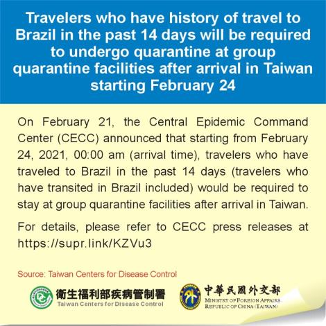 Travelers who have history of travel to Brazil in the past 14 days will be required to undergo quarantine at group quarantine facilities after arrival in Taiwan starting February 24