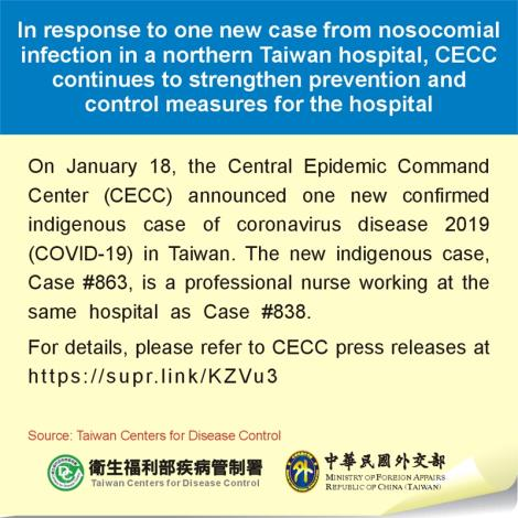 In response to one new case from nosocomial infection in a northern Taiwan hospital, CECC continues to strengthen prevention and control measures for the hospital