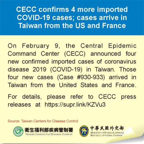 CECC confirms 4 more imported COVID-19 cases; cases arrive in Taiwan from the US and France