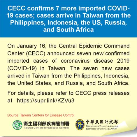CECC confirms 7 more imported COVID-19 cases; cases arrive in Taiwan from the Philippines, Indonesia, the US, Russia, and South Africa