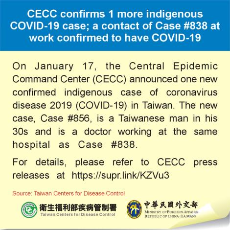 CECC confirms 1 more indigenous COVID-19 case; a contact of Case #838 at work confirmed to have COVID-19