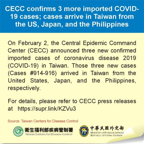 CECC confirms 3 more imported COVID-19 cases; cases arrive in Taiwan from the US, Japan, and the Philippines