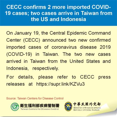 CECC confirms 2 more imported COVID-19 cases; two cases arrive in Taiwan from the US and Indonesia