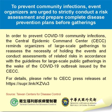 To prevent community infections, event organizers are urged to strictly conduct a risk assessment and prepare complete disease prevention plans before gatherings