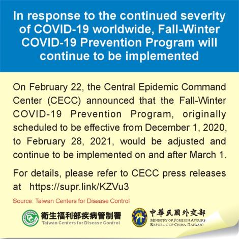 In response to the continued severity of COVID-19 worldwide, Fall-Winter COVID-19 Prevention Program will continue to be implemented