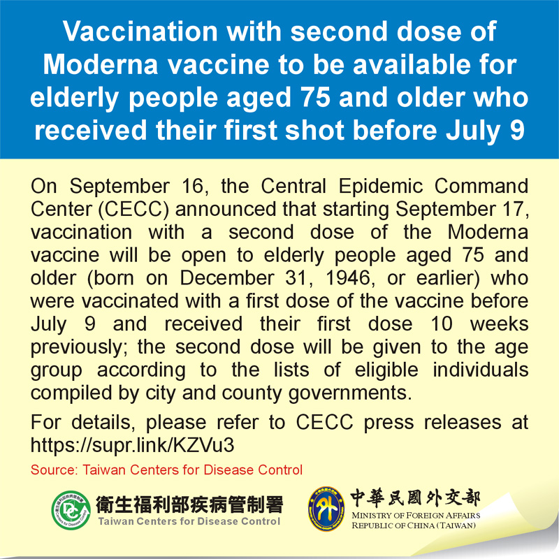 Vaccination with second dose of Moderna vaccine to be available for elderly people aged 75 and older who received their first shot before July 9