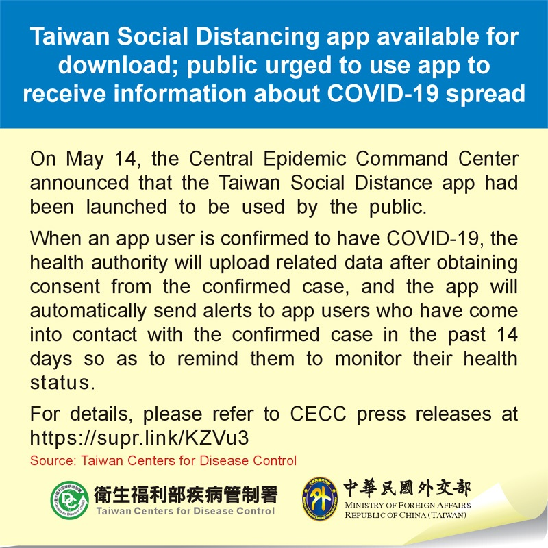 Taiwan Social Distancing app available for download; public urged to use app to receive information about COVID-19 spread