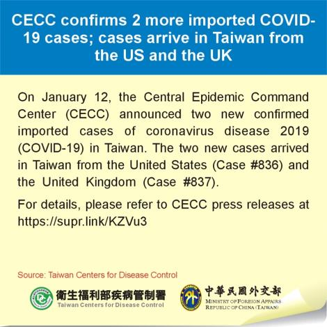 CECC confirms 2 more imported COVID-19 cases; cases arrive in Taiwan from the US and the UK