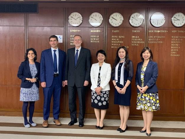 Caption: MOFA Secretary General Lily L. W. Hsu (third from right), AIT/T Director Brent Christensen (third from left), MOFA Department of International Organizations Director General Sharon S. N. Wu (second from left), and other officials attending the videoconference in Taiwan.
