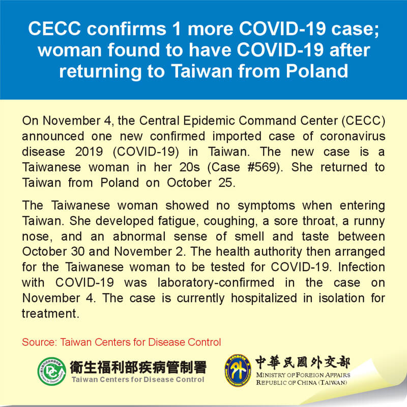 CECC confirms 1 more COVID-19 case; woman found to have COVID-19 after returning to Taiwan from Poland