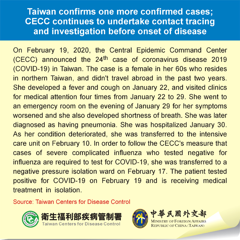 Taiwan confirms one more confirmed cases; CECC continues to undertake contact tracing and investigation before onset of disease