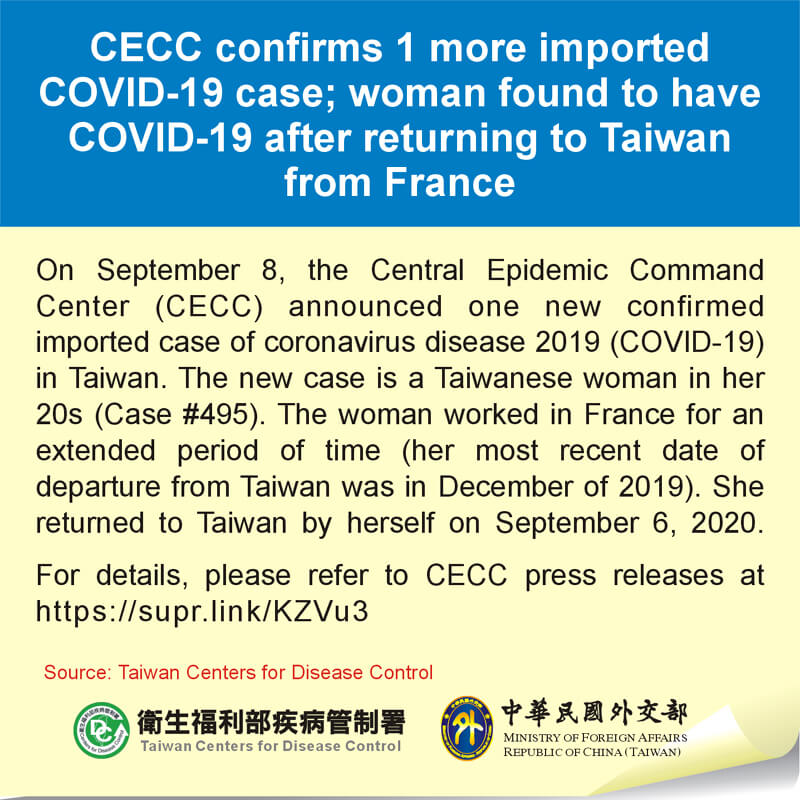 CECC confirms 1 more imported COVID-19 case; woman found to have COVID-19 after returning to Taiwan from France