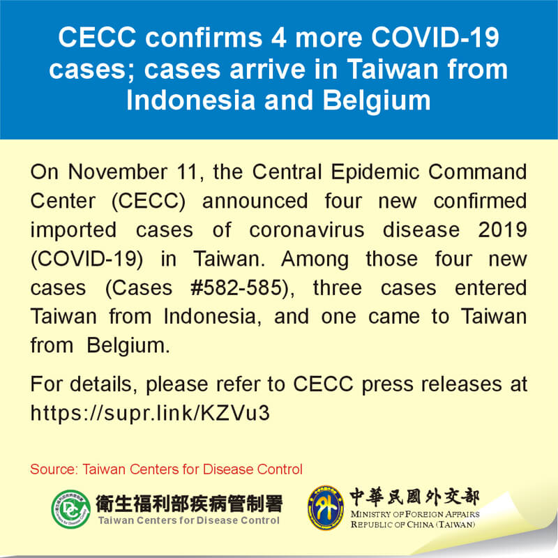 CECC confirms 4 more COVID-19 cases; cases arrive in Taiwan from Indonesia and Belgium