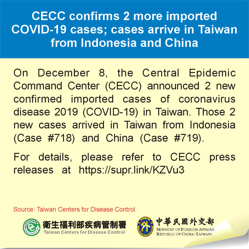 CECC confirms 2 more imported COVID-19 cases; cases arrive in Taiwan from Indonesia and China