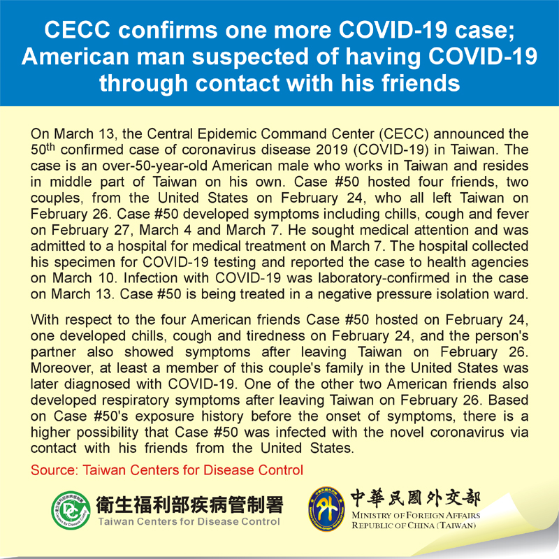 CECC confirms one more COVID-19 case; American man suspected of having COVID-19 through contact with his friends