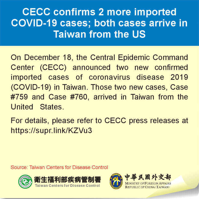 CECC confirms 2 more imported COVID-19 cases; both cases arrive in Taiwan from the US