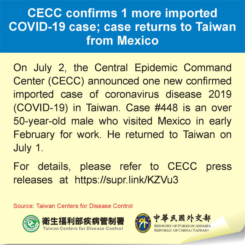 CECC confirms 1 more imported COVID-19 case; case returns to Taiwan from Mexico