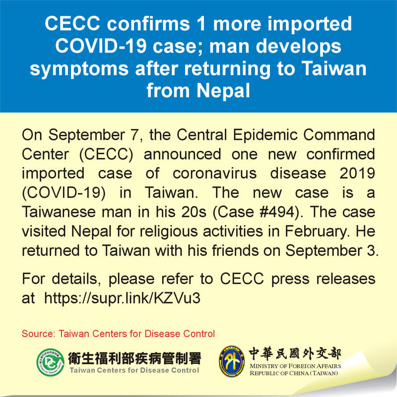 CECC confirms 1 more imported COVID-19 case; man develops symptoms after returning to Taiwan from Nepal