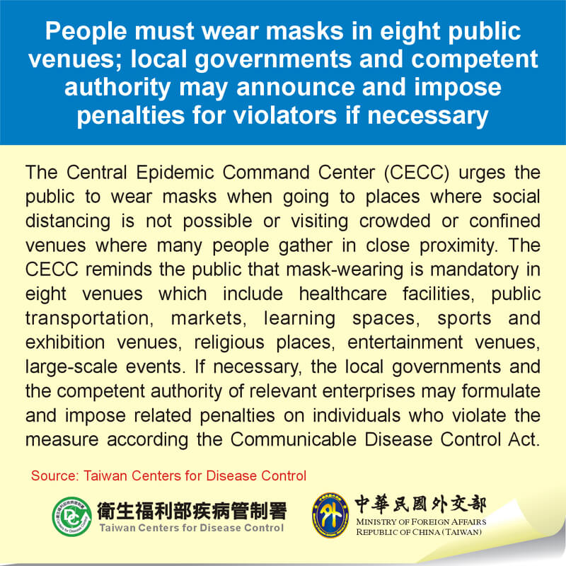 People must wear masks in eight public venues; local governments and competent authority may announce and impose penalties for violators if necessary