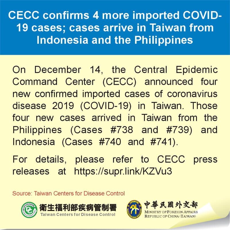 CECC confirms 4 more imported COVID-19 cases; cases arrive in Taiwan from Indonesia and the Philippines